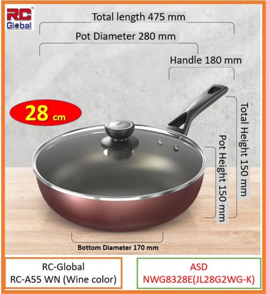 RC-Global ASD Series Products   28/ 30 / 32 cm Frying Wok / Non-stick Wok / Non-smoke Wok / Kitchen Wok  cookware set (ASD 炒锅不黏锅无油烟锅系列产品) Singapore
