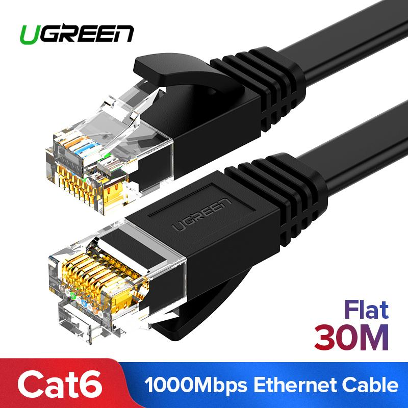 UGREEN 30 Meter Flat Cat6 Ethernet Patch Cable Gigabit RJ45 Network Wire Lan Cable Plug Connector for Mac, Computer, PC, Router, Modem, Printer, XBOX, PS4, PS3, PSP (Black) - Intl