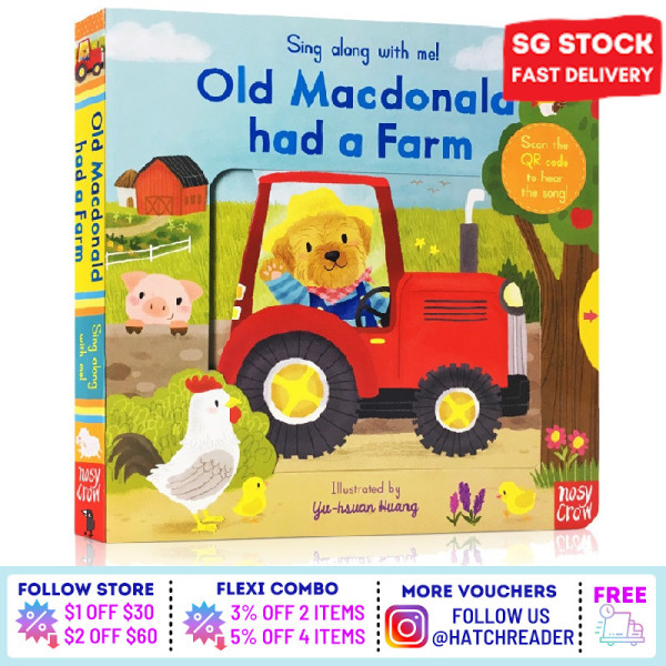[SG Stock] Sing Along With Me! Old Macdonald had a Farm INTERACTIVE english story book Song for children child kids baby 0 1 2 3 years old sensory play flash card picture