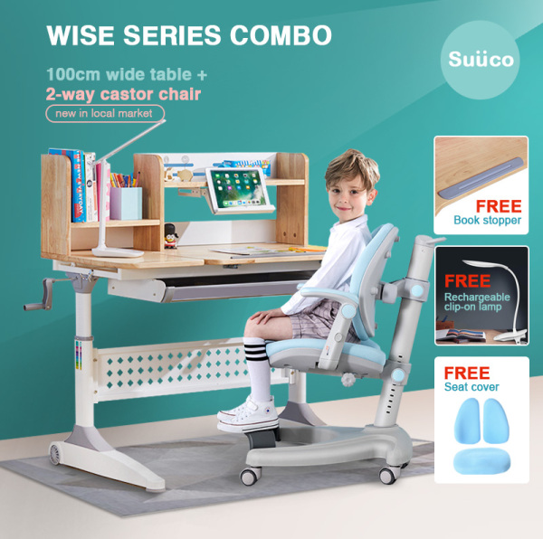 Suuco Wise Series Combo | Study Table and Study Chair For Kids | Study Desk and Study Chair for Children | Height Adjustable Study Table and Chair for Children | Height Adjustable Study Desk and Chair for Kids