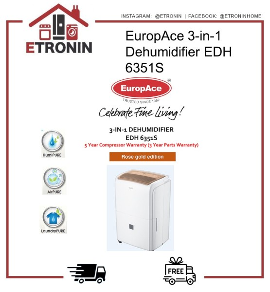 EuropAce 3-in-1 Dehumidifier EDH 6351S Singapore