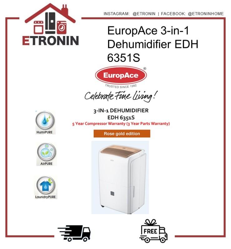 EuropAce 3-in-1 Dehumidifier EDH 6351S Singapore
