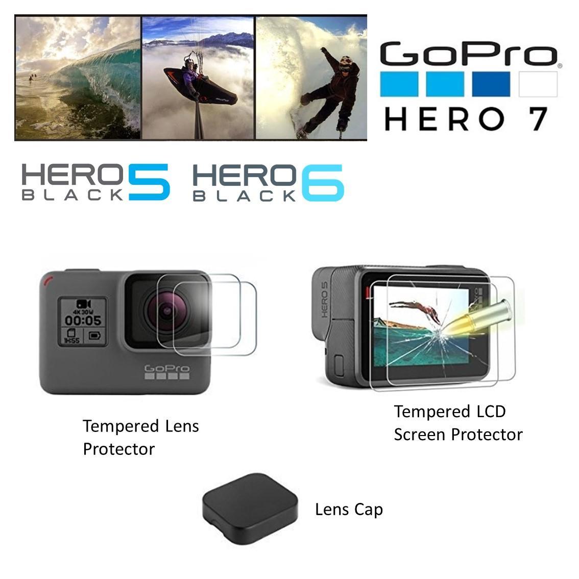 Lens Cap and Lens Screen Protector Film for Gopro Hero 7 White Silver Black Hero 5 Hero 5