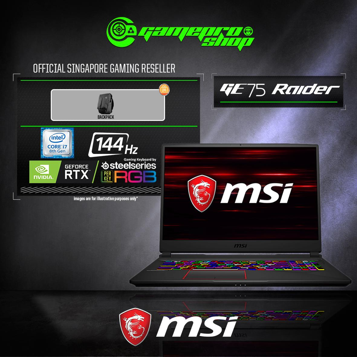 9th Gen MSI GE75 RTX2060 RAIDER 9SE - 650SG (i7-9750H / 16GB / 1TB SSD / WIN 10) 17.3 with 144Hz GAMING LAPTOP  *GSS PROMO*