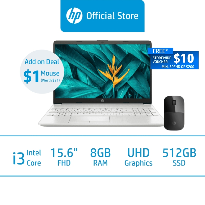 HP Laptop 15s-du3519TU / 11th Gen Intel  i3-1115G4 / 8GB RAM / 512GB SSD / 15.6 FHD / Win 10 / 1 Year Warranty / Free 1 Mth McAfee LiveSafe Trial