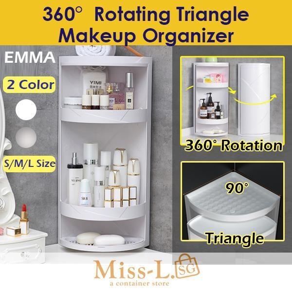 Buy EMMA-360 Rotating Triangle Makeup Organizer-makeup storage box -dustproof makeup organizer -makeup storage Singapore