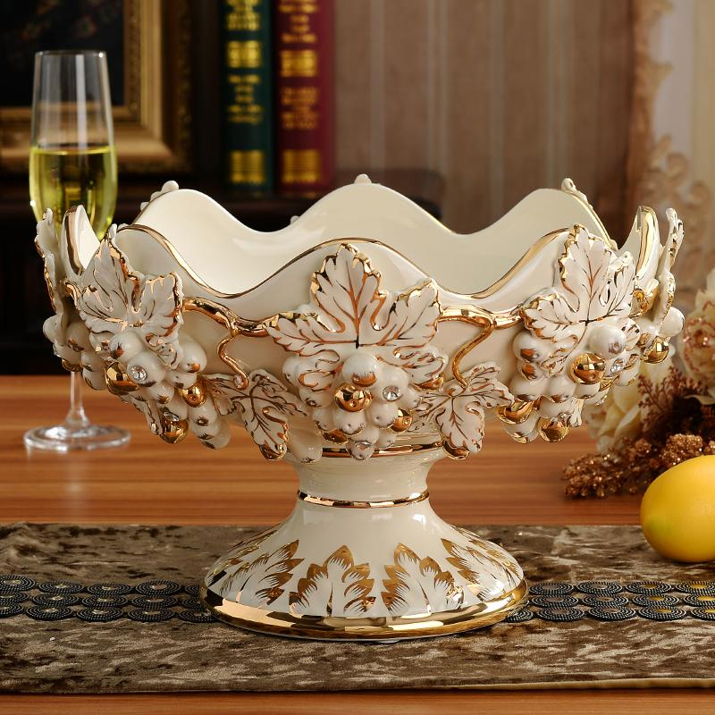 European Style Fruit Bowl Set Luxury Ceramic Top Grade Water Fruit Bowl Household HYUNDAI Teapoy Table Decoration Fruit Bowl Creative Living Room