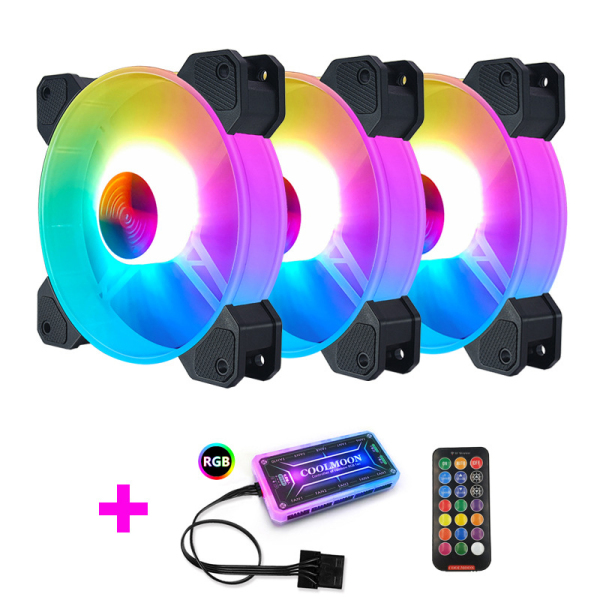 COOLMOON F-YH Computer Case PC Cooling Fan RGB Adjust 120mm Quiet + IR Remote New Computer Cooler RGB CPU Case Fan Three In One