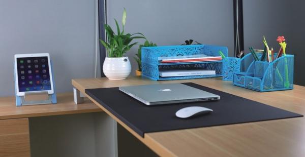 PU Leather Pad, Workstation Accessory, Folded Hem Design, Leather Mouse Pad, Keyboard Pad, DP-750 - Flight