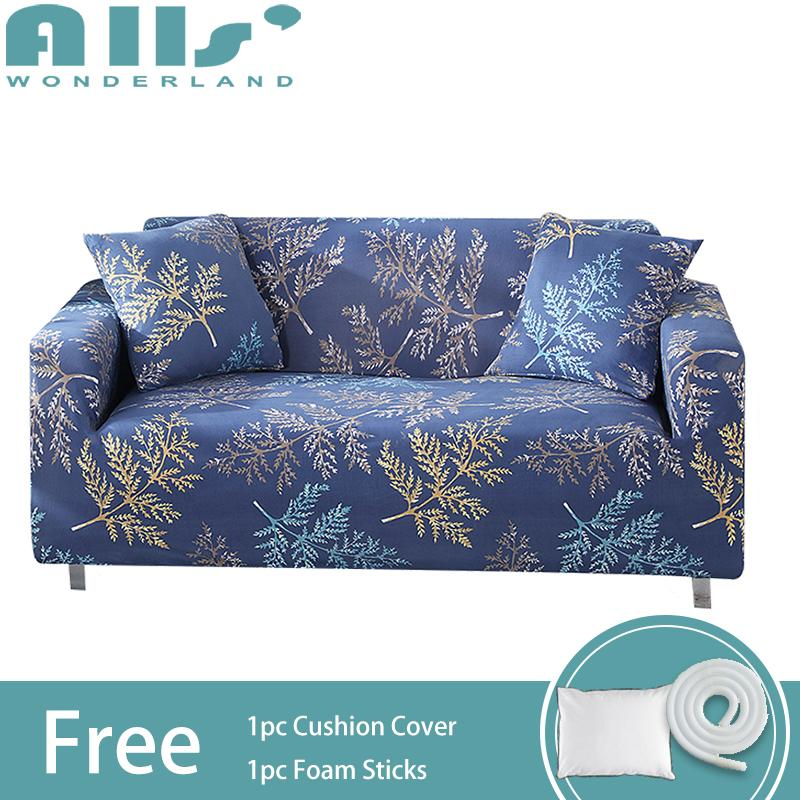 【Slipcover】1/2/3/4-seater Floral Patterns Elastic Full Cover Stretch Sofa Cover Spandex Protector Slipcovers(Length Range for 90-290cm/34.53-114.17)