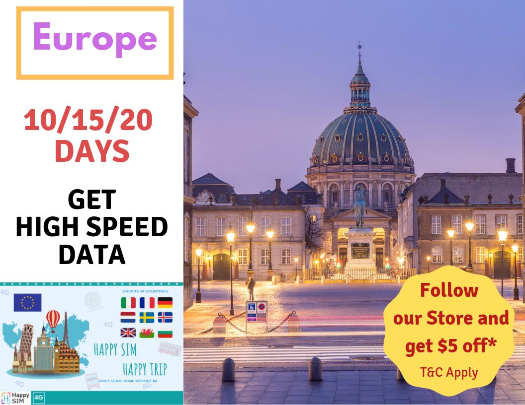 Europe 15 Days Voice & Data Sim (500mb Per Day) By Brightline Happysim.