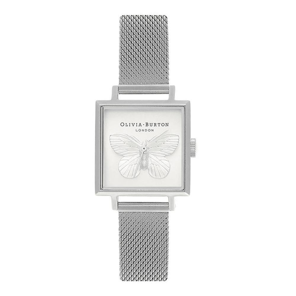 Olivia Burton 3d Butterfly White Square Dial 22mm Quartz Womens Silver Mesh Stainless Steel Strap Watch Ob16mb15 By Watch Centre.