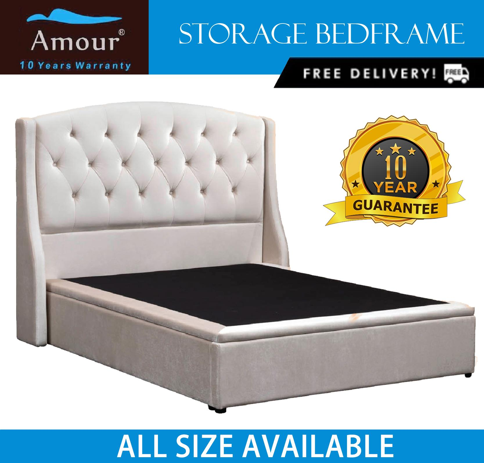 AMOUR BRAND VELVET CLOTH STORAGE BED/ ALL SIZE AVAILABLE / FREE DELIVERY / 10 YEAR WARRANTY