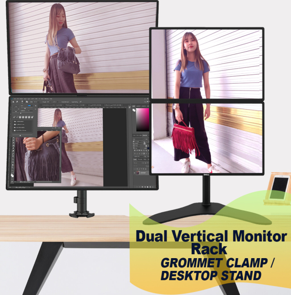 Dual Vertical Monitor Rack Stand - Vertical Stack Screen LCD Desk Clamp/ Desktop Computer Mount