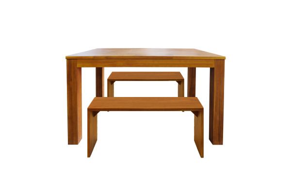 Scanteak Lige 120Cm Dining Set (1 Table + 2 Benches)