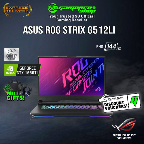[Express Delivery] ASUS ROG STRIX G512LI GTX1650TB | 15.6 FHD 144Hz | i7-10750H | 1TB PCIe SSD | NVIDIA GeForce GTX1650Ti 4GB DDR6 | WiFi6 AX | 2Yrs Warranty | ROG Mouse&Backpack