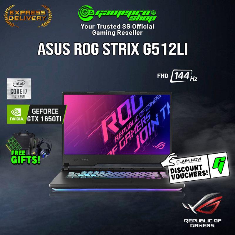 [Express Delivery] ASUS ROG STRIX G512LI GTX1650TB   15.6 FHD 144Hz   i7-10750H   1TB PCIe SSD   NVIDIA GeForce GTX1650Ti 4GB DDR6   WiFi6 AX   2Yrs Warranty   ROG Mouse&Backpack