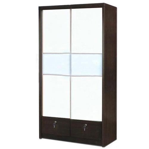 [Furniture Amart] Sliding Door wardrobe cabinet with drawers lock (Walnut)