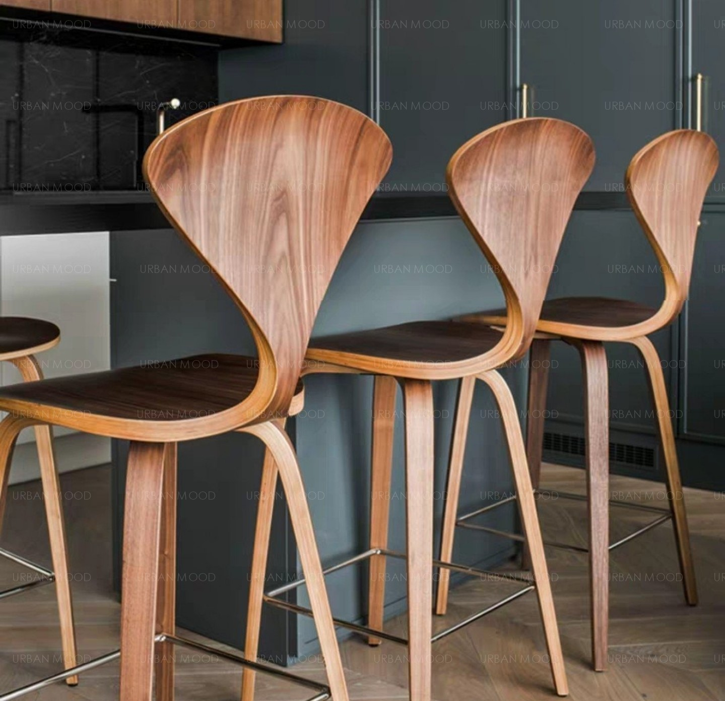 HAGEN Postmodern Walnut Dining / Bar Chair