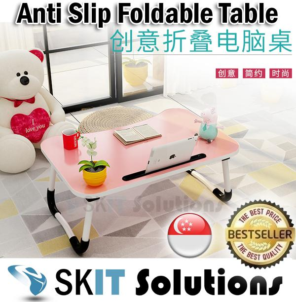 60 x 40 cm Anti-Slip Foldable Laptop Table with iPad Tablet / Phone Slot for Desk Writing Bed ★ Standard Size ★ Curve Shape