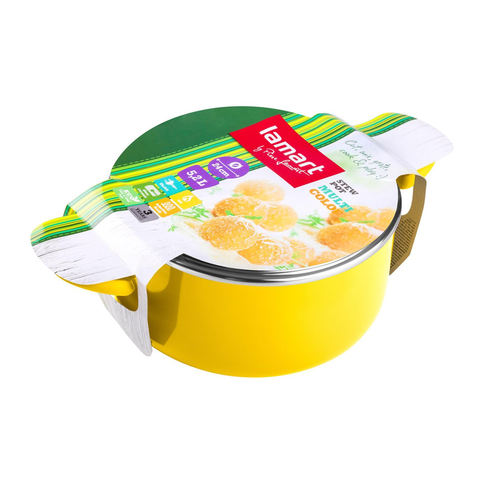 Lamart Aluminium Saucepan With Lid - 24cm - Yellow - 4.6L