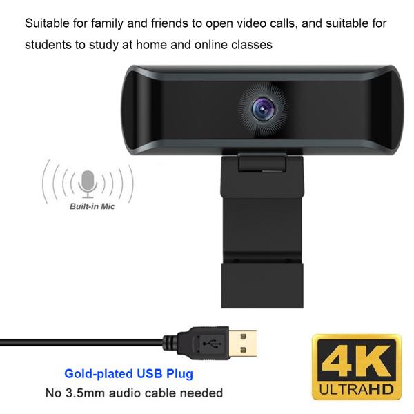 grqs 8 Million Megapixel USB Online Classes Video Calling Built-in Microphone Webcam Camera 4K UHD Computer Webcam