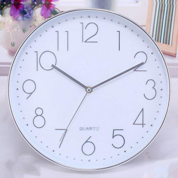 Modern Wall Clock,12 Inch Large Decorative Universal Silent Indoor Quartz Round Wall Clock Non-ticking for Living Room Office Kitchen Free Shipping