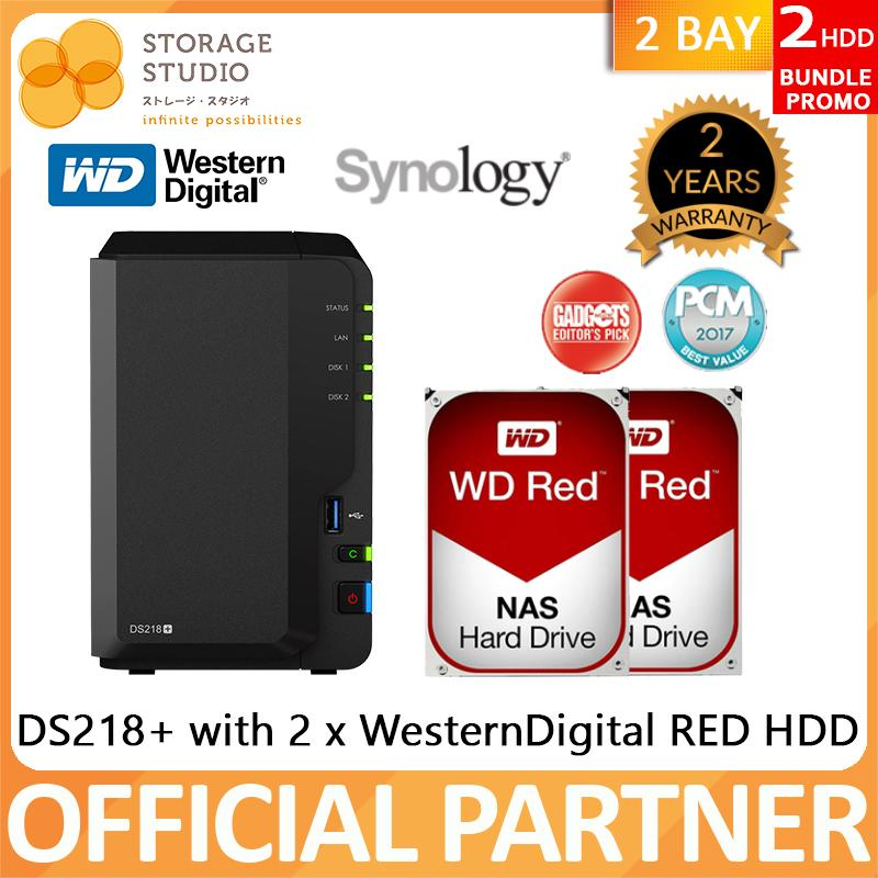 Synology Nas Ds218+ 2 Bay Nas (2 X Western Digital Red Hdd Bundle Series). Warranty: 2 Years. Local Warranty. ** Synology Official Partner** By Storage Studio (s) Pte Ltd.