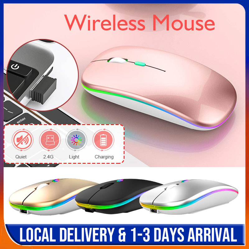 Wireless Mouse Silent Mouse with Rainbow Back Light 1600 DPI Ergonomic Mouse Noiseless PC Mouse Mute Colorful Glowing Office PC Laptop Notebook Mice