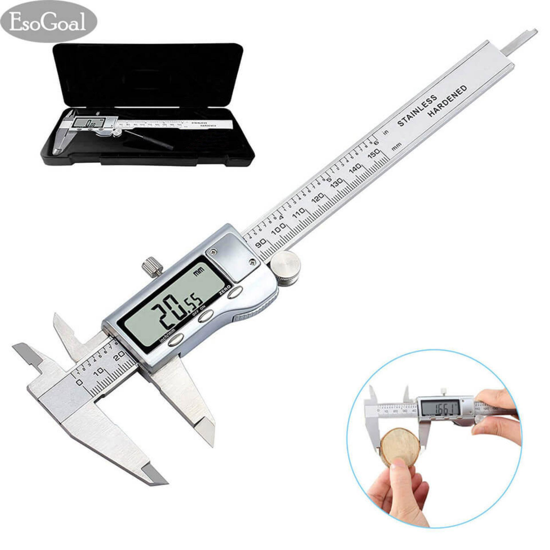 Esogoal Digital Caliper Measuring Tool Stainless Steel Inch Mm, Led Screen, Precision 0.0005/0.01mm Measuring Inside, Outside, Depth Accuracy - Intl By Esogoal.