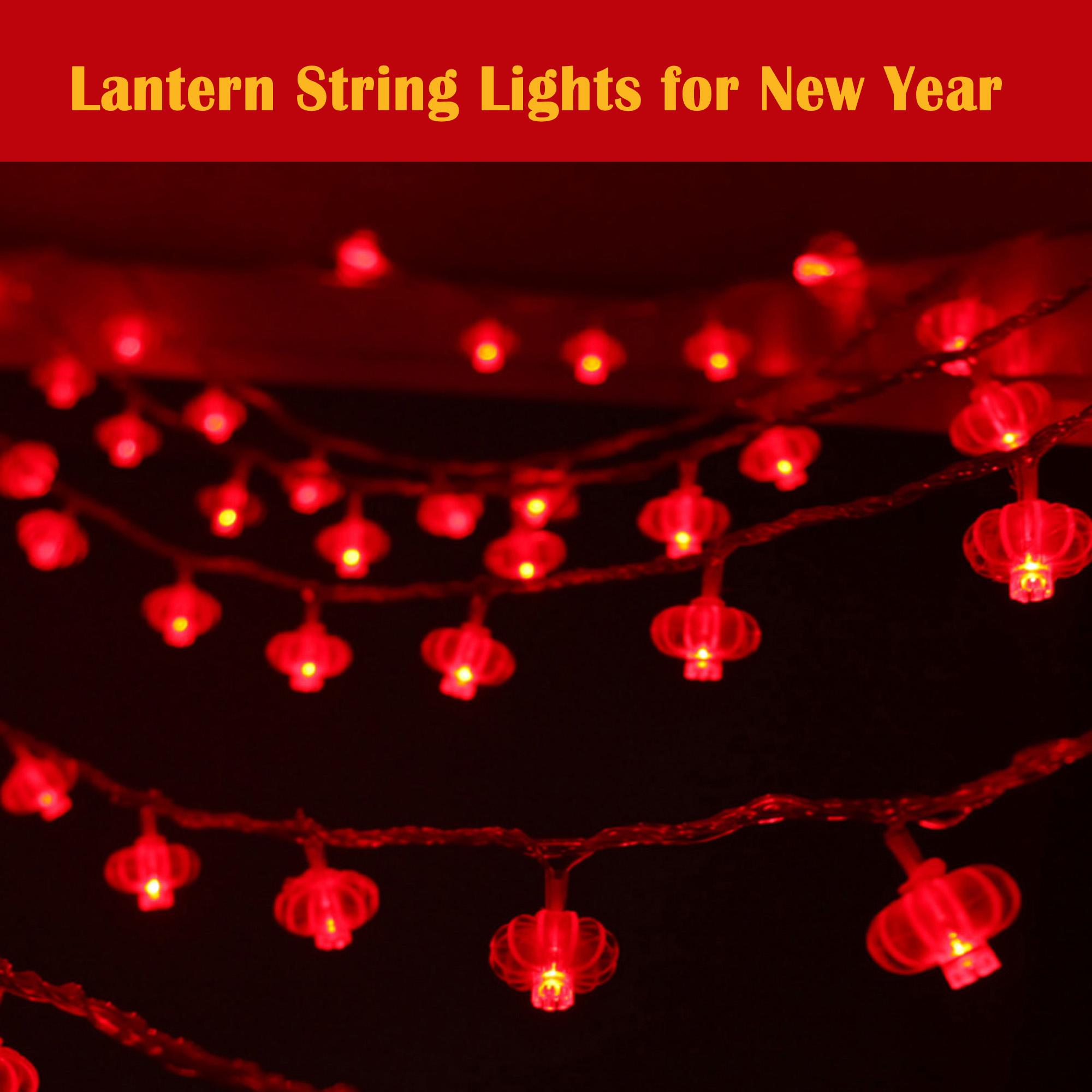 Vococal LED Battery Operated Lantern String Lights for Chinese New Year Spring Festival Home Party Celebration Decoration Props Singapore