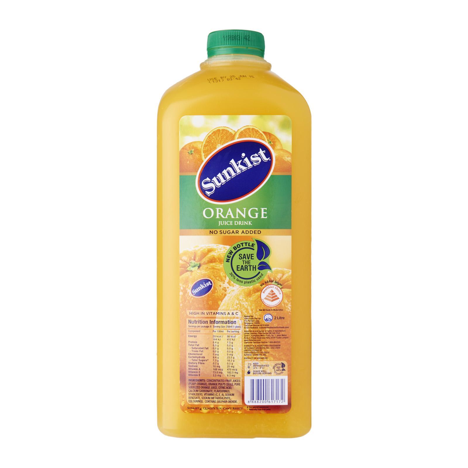SUNKIST Orange Juice Drink No Sugar Added 2L