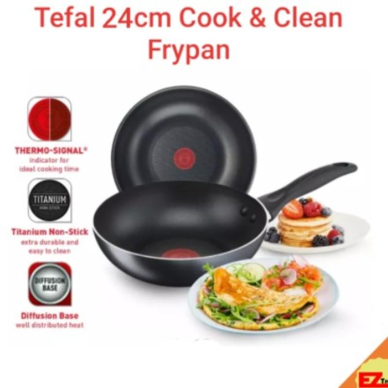 24cm Tefal cook & clean Frypan frying pan non stick titanium diffusion base gas / electric induction /ceramic Singapore