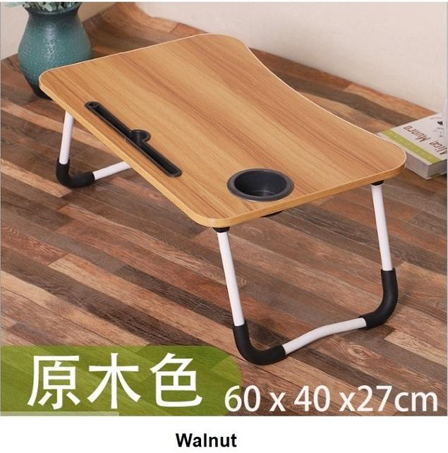 Foldable Laptop Table with Cup Holder and Tablet Holder / Foldable Bed Tray Table / Adjustable Laptop Table
