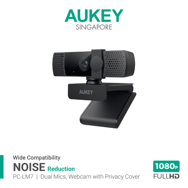AUKEY PC-LM7 Webcam With Privacy Cover 1080P Full HD With Dual Noise-Reducing Mic For Online Meeting & Streaming