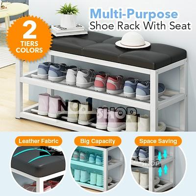 Multi-purpose Shoe Rack Bench with Faux Leather Seat / 70cmx45cmx30cm / Used as Entryway allway