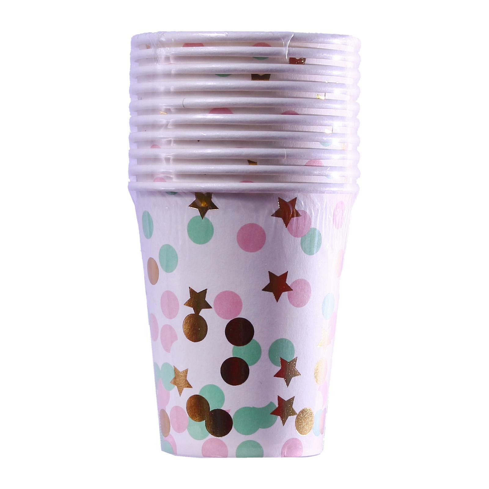 Partyforte 10 PCS Premium Disposable Paper Tableware - Colorful Cups