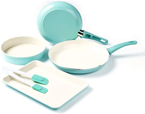 GreenLife Soft Grip Bakeware Cookie Cake Cupcake Baking Making Set Kit Healthy Ceramic Nonstick, Cookware Frying Fry Pan Set, 6 Piece, Turquoise 9.5 and 12 frying pans, a round cake pan (9), a cookie sheet (18 x 13), and 2 baking spatulas Singapore