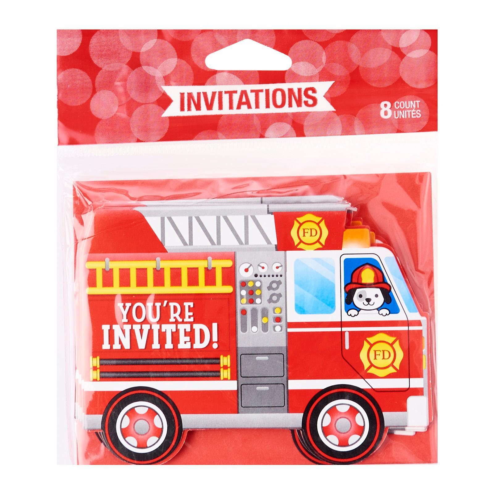 Creative Converting Flaming Fire Truck Popup Invitation Pack