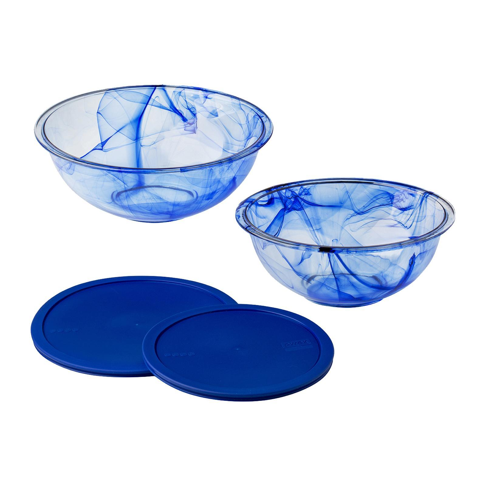 Pyrex 4 PCS Mixing Bowl Set (Color : Blue Watercolor)