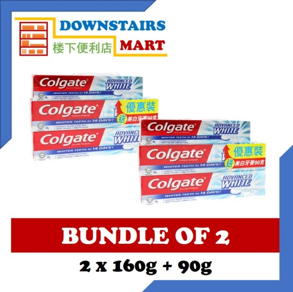 Buy [Bundle of 2] Colgate Advanced White (2 x 160g + 90g) x 2 Singapore