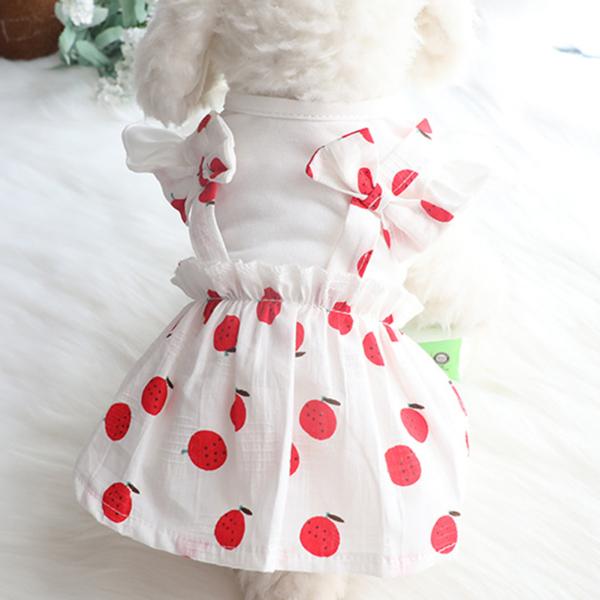 1 Chiếc Váy Cho Thú Cưng Dễ Thương Váy Không Tay Trang Trí Họa Tiết Dâu Tây Cho Chó Mèo Mùa Hè