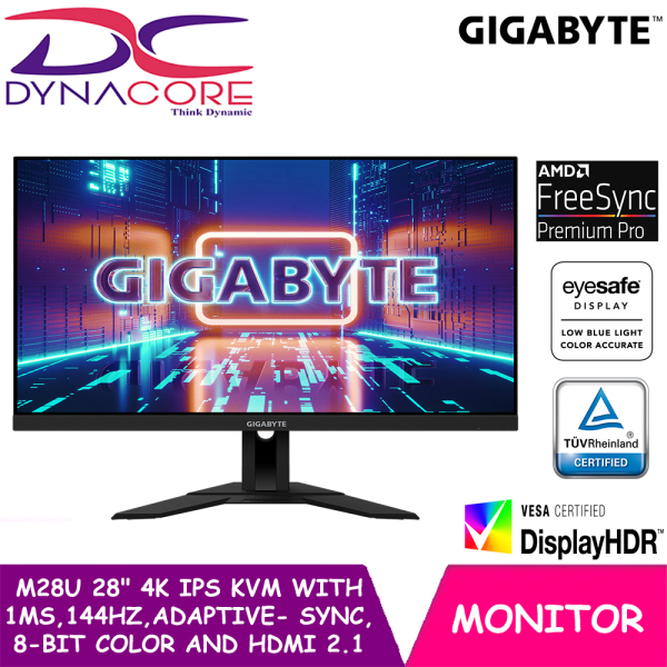 【PRE-ORDER】 DYNACORE - Gigabyte M28U 28 4K IPS KVM Gaming Monitor with 1ms, 144Hz, Adaptive-Sync, 8-Bit Color and HDMI 2.1