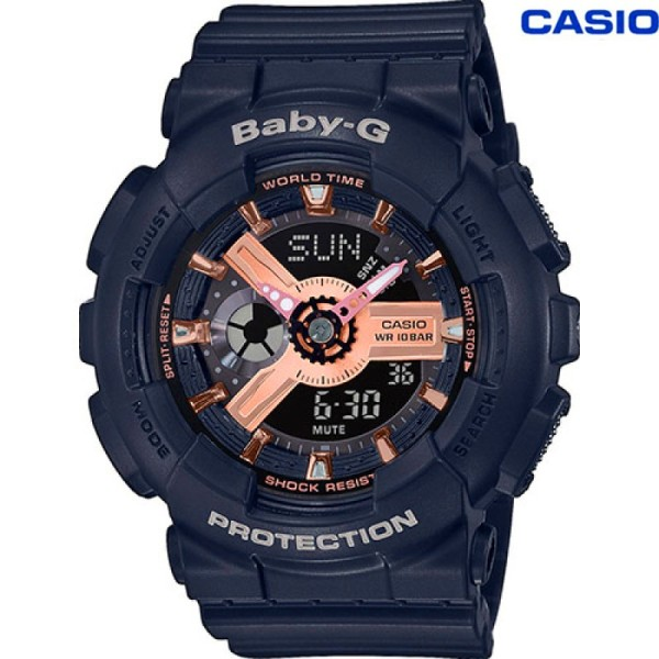 Original BABY G Rose Gold Womens Watch BA-110RG-1A Black 200M Water Resistant Shockproof and Waterproof World Time LED Auto Light Wrist Sports Watches with 2 Year Warranty Malaysia