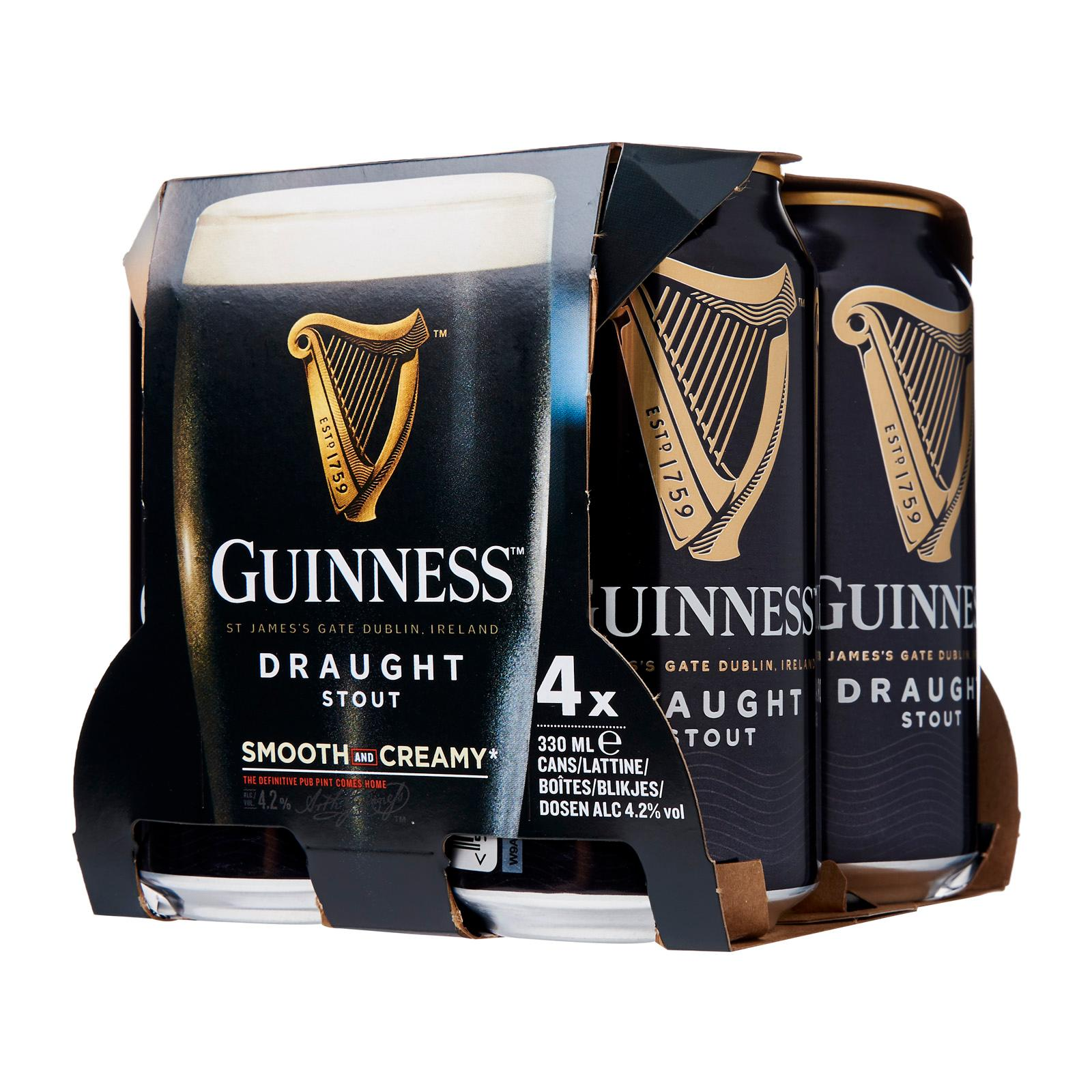 Guinness Draught Stout Can 4 x 330ml