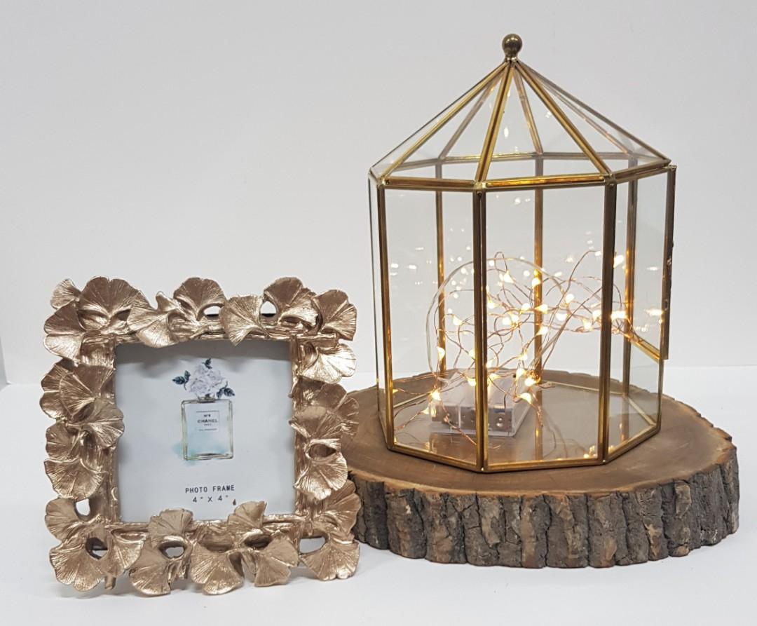 Gold geometric terrarium/ring boxes Drawer Carousel