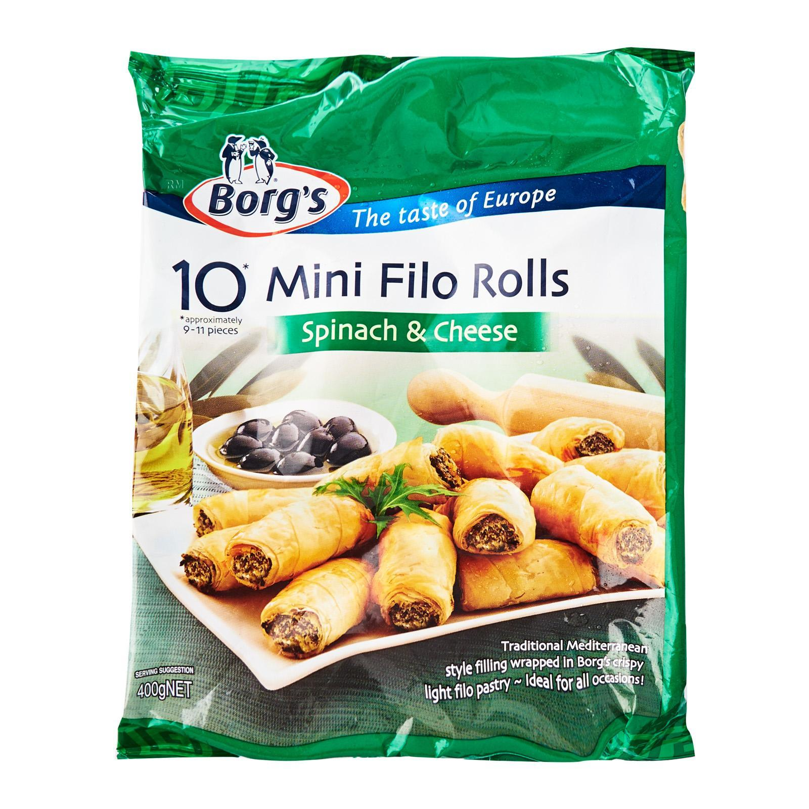 BORG'S Mini Filo Rolls - Spinach And Cheese 10s - Frozen
