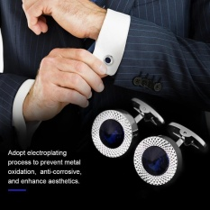1 Pair French Crystal Cuff Links Shirt Cuff-Link With Black Box For Lawyer Groom Wedding - Intl By Highfly.