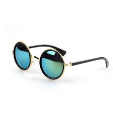 1 Pair Unisex Retro Round Circle Mirror Lens Metal Frame Sunglasses Shades Sun Glasses For Men Women Gold Frame + Green Lens By Vococal Shop.