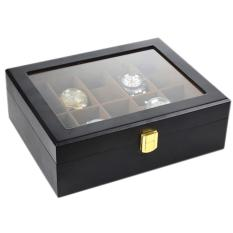 Cheapest 10 Slot Watch Storage Box Black Matte Wood With Inner Brown